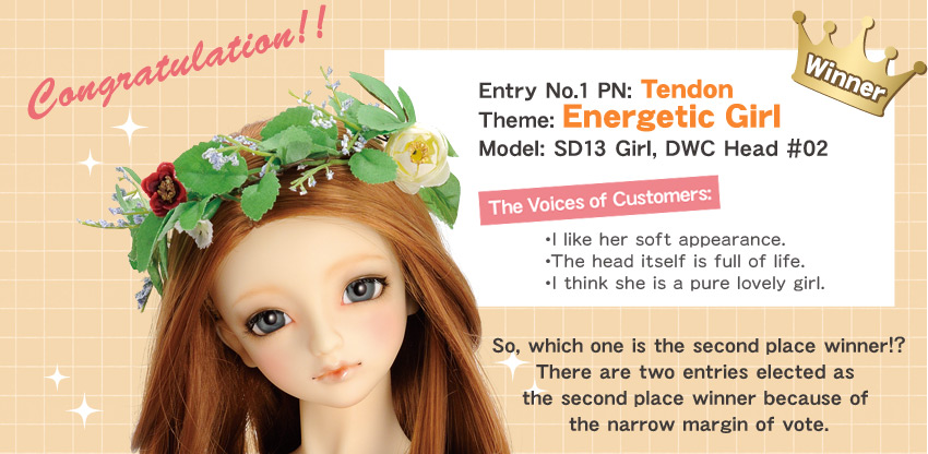 Winner:Entry No.1 Theme: Energetic Girl  PN: Tendon Model: SD13 Girl, DWC Head #02